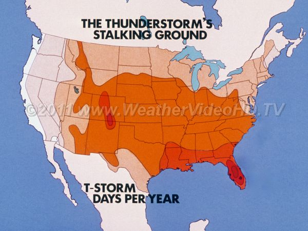 Us Thunderstorm Frequency Map Thunderstorm Frequency Map   Royalty Free Stock Weather videos and