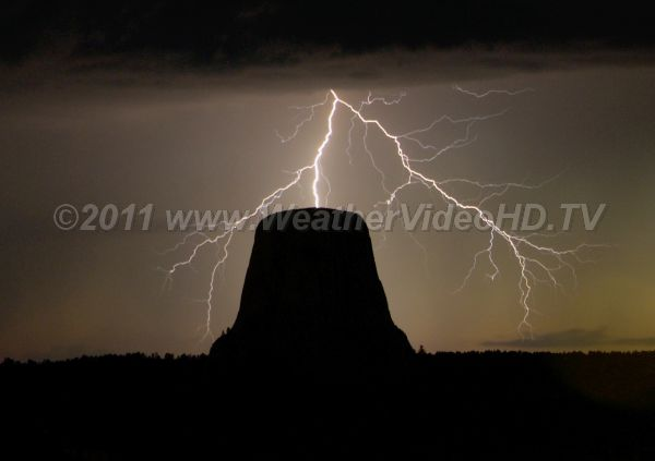 Direct Hit? Flash appears to strike the Devils Tower but is actually behind it.