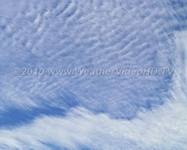 Cirrocumulus Ripples Very high clouds composed of ice with ripples