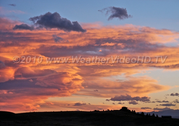 Orange Turbulence Mountain waves clouds lee of the Rockies at sunset may mean bumpy flying