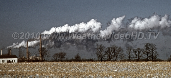 Steam Stacks Much of what is visible from industrial plants on cold winter days is condensed water vapor