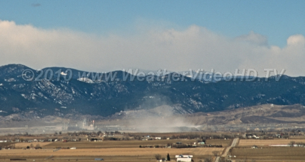 Downslope Wind Storm Strong downslope winds kick up large clouds of dust lee of the Front Range