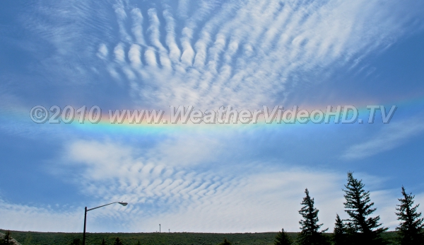Circumhorizontal Arc Rare display of colors from thin clouds of hexagonal ice crystal when the solar elevation is above 58 degrees