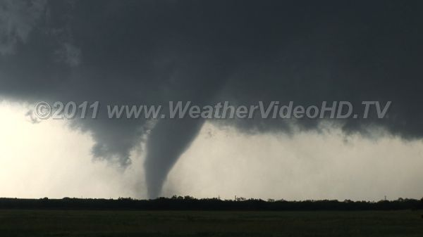 Tornado and Mesoscyclone The larger scale rotation of the supercell mesoscyclone is apparent, along with the tornado
