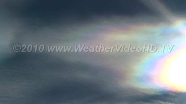 "Iridescent Sun Thin clouds of small water droplets cause ""mother-of-pearl"" effect"