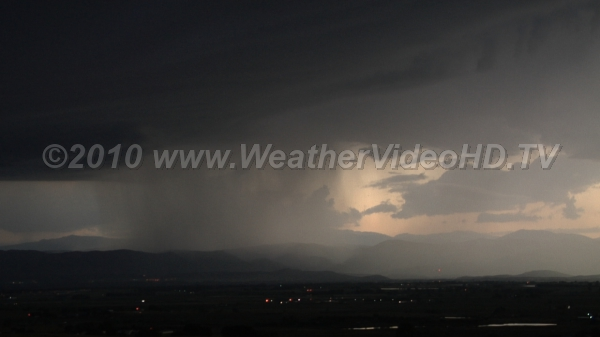 Evening Cloudburst Intense thunderstorm moving off Rockies into plains
