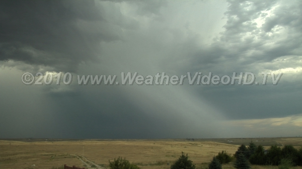 Hailshaft Receding thunderstorm with shaft of falling rain and hail