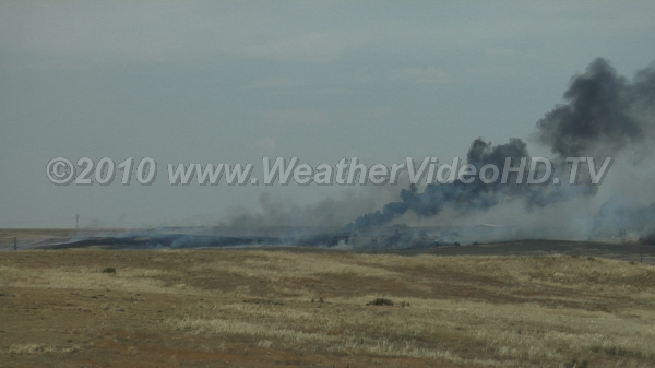 Prairie Fire Wild fire burns across grazing land and strikes several ranches