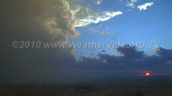 Sunset CB Supercell-like storm with some apparent rotation