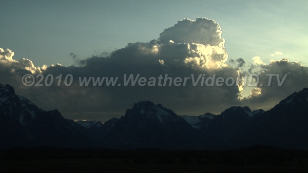 Evening Shower Large cumulus congestus over Wyoming mountains possibly creating a local shower