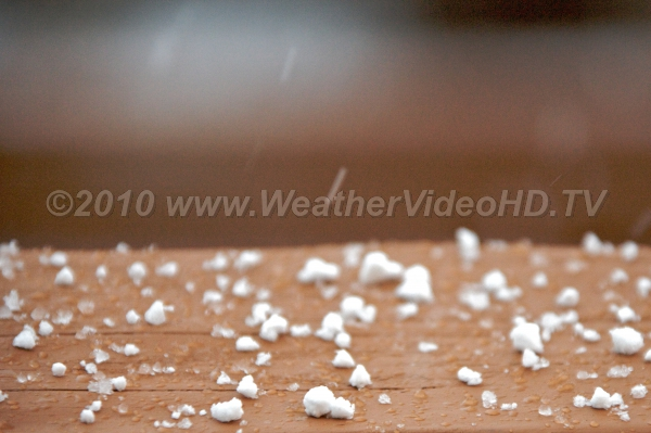 "Graupel Also called ""soft hail"" these frozen particles fall during a spring thundershower"