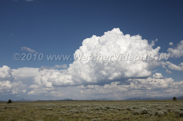 Growing cumulus over high country Summer thundershowers brewing over distant mountains