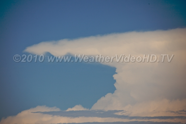 Back Sheared Anvil Intense updrafts spread out in anvil causinig it to expand even in upwind directions