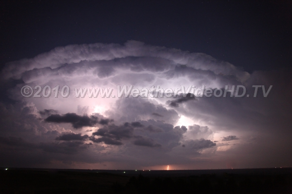 Nocturnal Supercell Continuous lightning from a supercell producing large hail and 70 mph winds