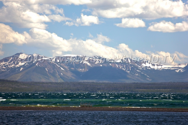 Strong winds stir up waves Whitecaps on Lake Yellowstone after cold frontal passage in July