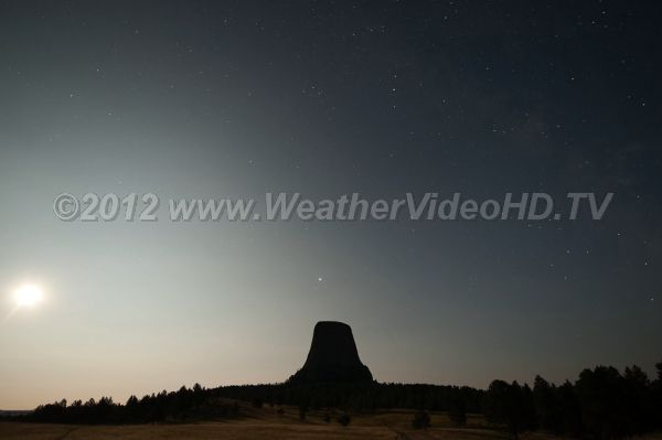 Moon Over Devils Tower Clear skies over one of the west